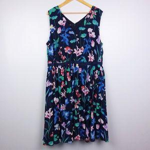 Talbots Black Floral Faux Wrap Chiffon Dress